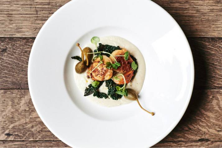 Scallops dish served by Chef James Knox Boothman at LASSCO, London, for private events